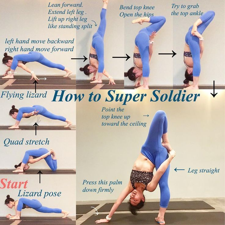 Step By Step To Super Soldier Pose Good Pose To Try If Standing Is Getting Easier For You Easier Goo Easy Yoga Workouts Advanced Yoga Yoga Poses Advanced