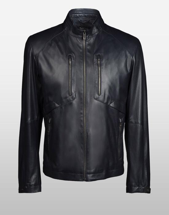 046683d67f Biker leatherwear with ergonomic cut and standing collar