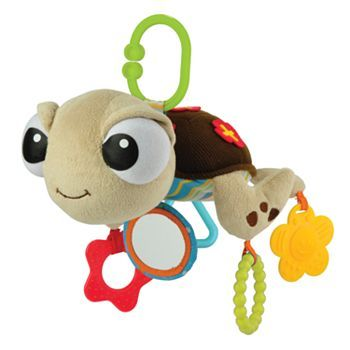 Catch the current of fun at playtime. This plush activity toy featuring Squirt from FINDING NEMO is sure to lure in giggles as it dangles from a stroller or crib with its on-the-go clip. Fun features include a soft mirror, and a textured ring and two teethers for curious teething babies. Plus there's crinkle texture and an exciting chime noise inside.