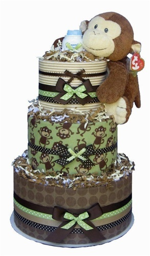 Monkey Diaper Cake using Flannel Blankets and diapers.