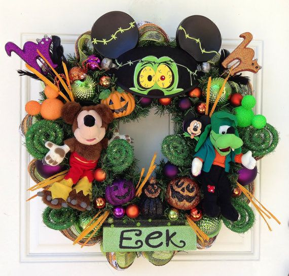 Halloween Mickey Mouse Goofy Wreath by SparkleForYourCastle, $169.00
