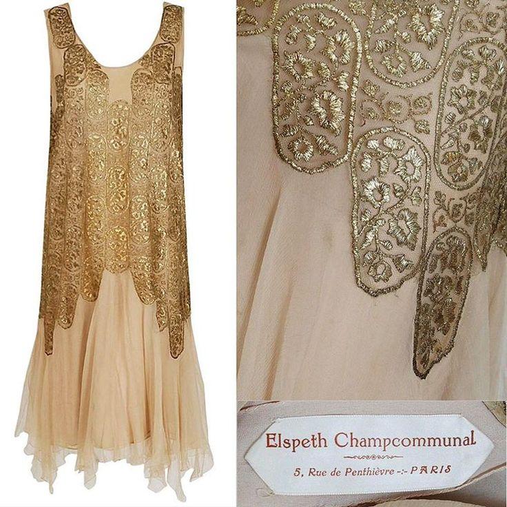 Elspeth Champcommunal Haute couture metallic lame silk dress circa 1925