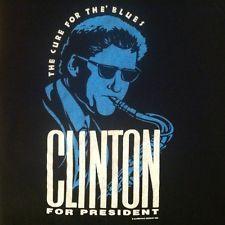 Vintage 1992 Bill Clinton for president t-shirt, saxophone political democrat