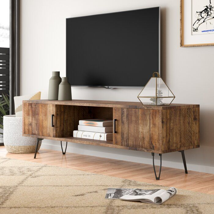 Adger Solid Wood Tv Stand For Tvs Up To 65 Inches Reviews Allmodern Tv Stand Decor Living Room Living Room Tv Stand Modern Furniture Living Room