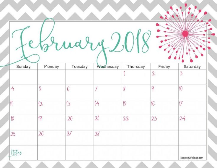 FREE 2018 Calendar to Print
