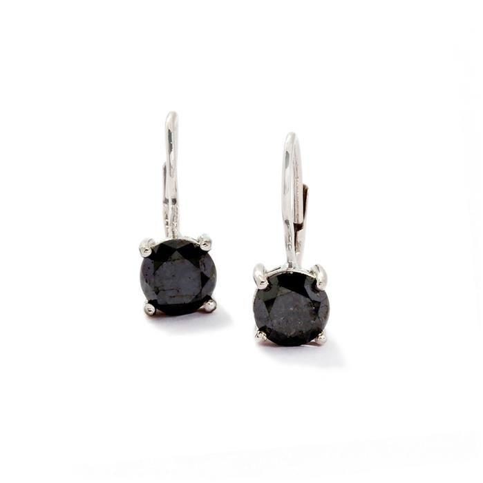 3.10ct Black Diamond Sterling Silver Earrings