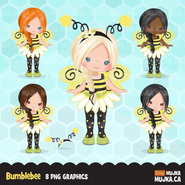 Bumblebee Girls clipart. Cute summer birthday characters ...