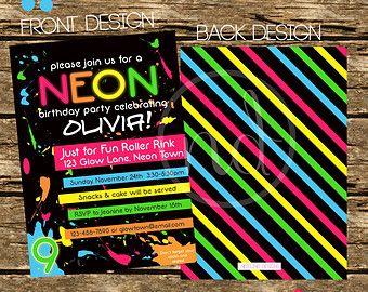 Personalized Neon / Glow/ 80's Theme Invitation DIY Printable PDF