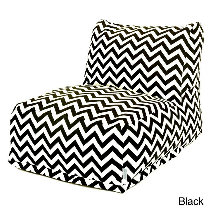 Majestic Home Goods Chevron Bean Bag Chair Lounger Black