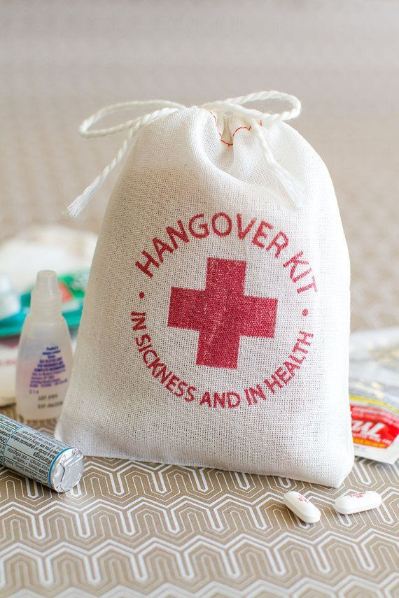 Hangover Kit -- this would be a super cute wedding favor! since you can't put them in the hotel you could hand out at wedding so all guests get them.