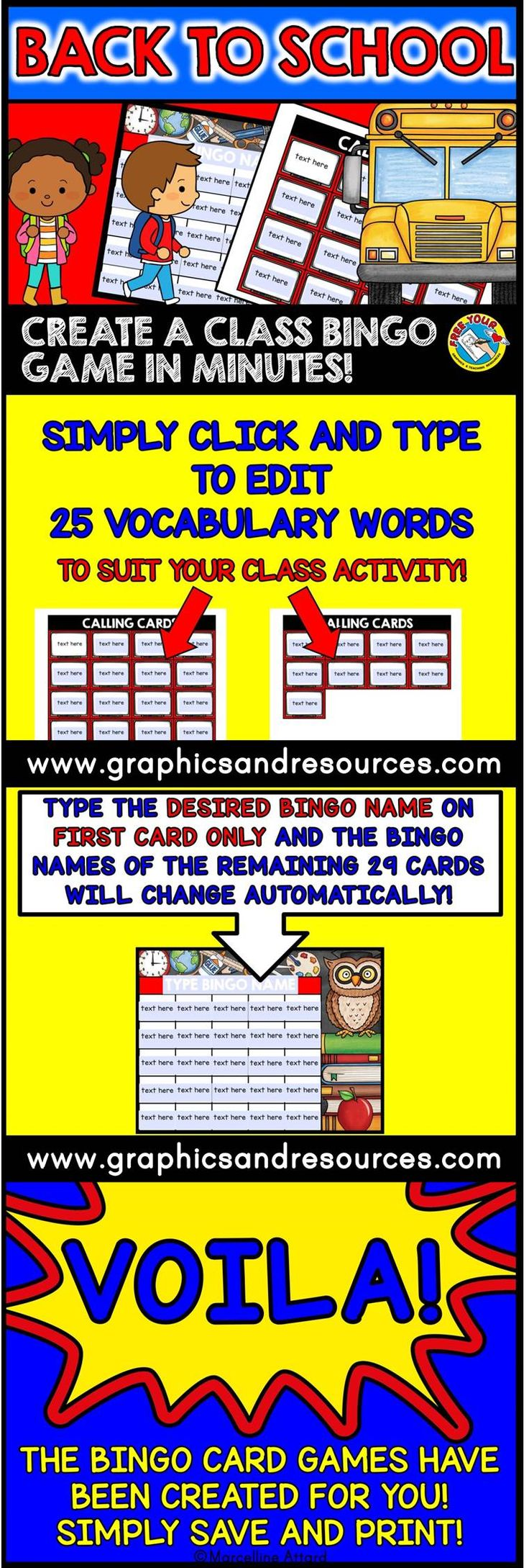 Create a customized bingo game in minutes! This back to school theme bingo maker lets you create a set of 30 bingo cards in a few minutes! Super easy and fun for everyone! Click to view bingo this editable resource!