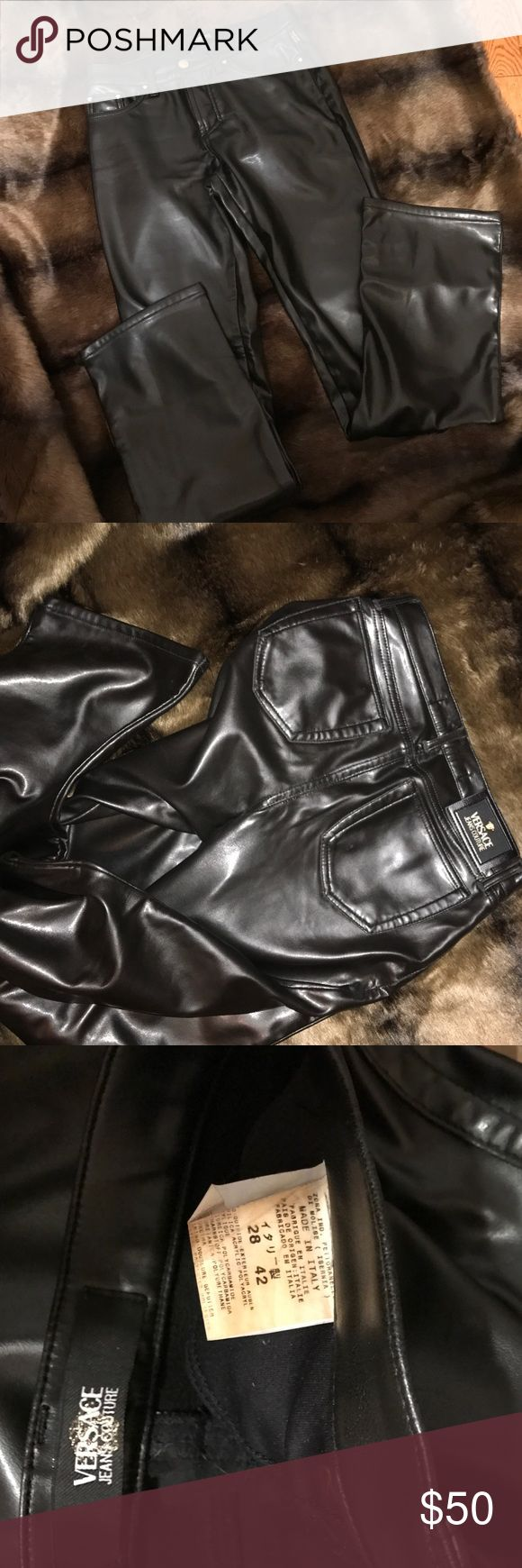 """Versace black faux leather pants Versace black faux leather pants, 32 inch inseam, 33"""" waist.  As shown in the last picture, the stitching is coming out just a little bit on the rear end, which can probably be very easily mended, if you feel it's necessary.  Offers are welcomed! Versace Pants Trousers"""
