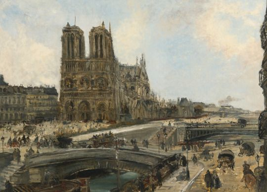 View of Paris with Notre Dame, 1893, Edouard-Jacques Dufeu. French (1840 - 1900) - Oil on Canvas -