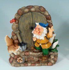 Decorative Gnome By Door Garden Statue By Collectible Badges. $22.95. Very  Detailed  Back