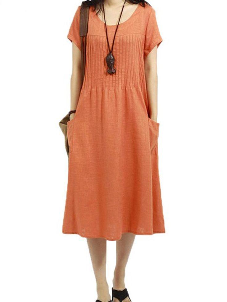 Loose Women Solid Short Sleeve Pocket Pleated Cotton Linen Dress