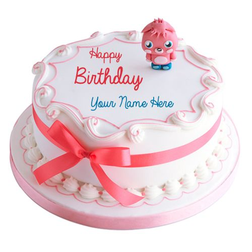 Write Name on Cute Teddy Cartoon Toppings Birthday Cake