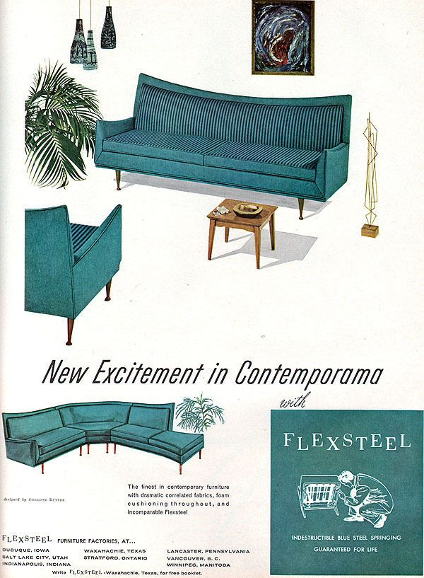Flexsteel Furniture SHELDON RUTTER Turquoise Sofa MID CENTURY MODERN 1960 Ad. 1483 best images about Mid Century Furniture on Pinterest