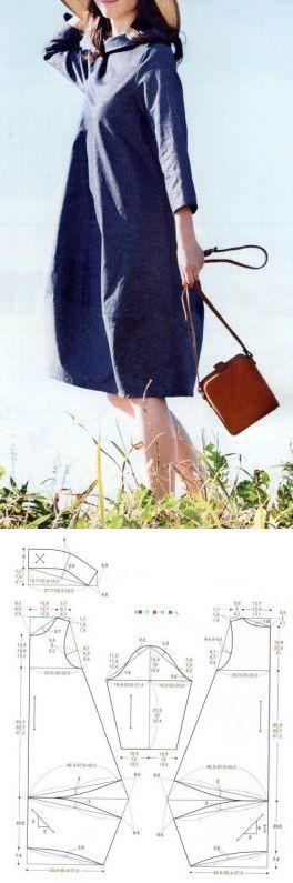 Шитье | простые выкройки | простые вещи.Платье-кокон с воротником-стойкой, выкройка на три размера: S,M,L.