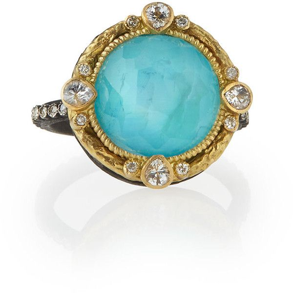 Armenta Old World Blue Turquoise & Diamond Ring ($1,665) ❤ liked on Polyvore featuring jewelry, rings, turquoise, turquoise ring, diamond jewelry, pear shape diamond ring, turquoise jewelry and blue band ring