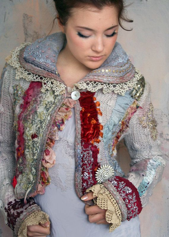 1700 romantic textile art jacket nuno felted and by FleursBoheme