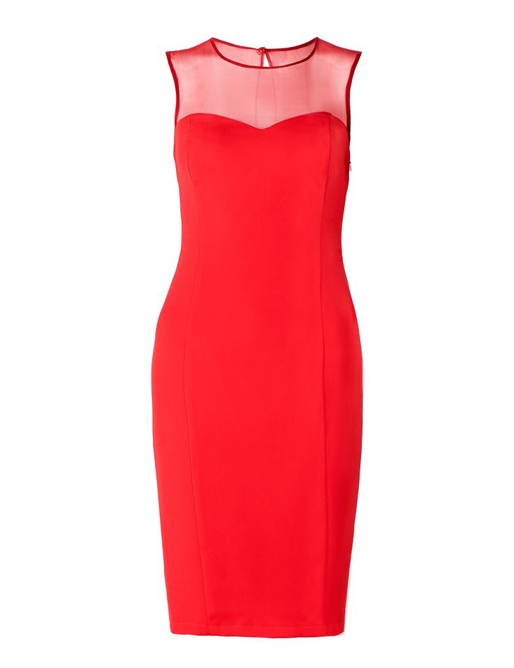 Dress with the silk top - intensive red colur. Very sexy. For self-confident women. Perfect for parties.