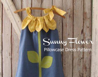 Ensoleillé fleur taie d'oreiller robe - fille-patron de couture - PDF modèle tutoriel facile coudre tailles 12m thru 10 inclus