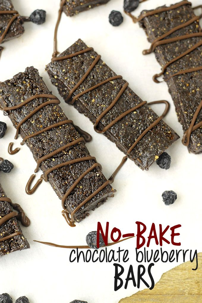 No-Bake Chocolate Blueberry Bars // thehealthymaven.com