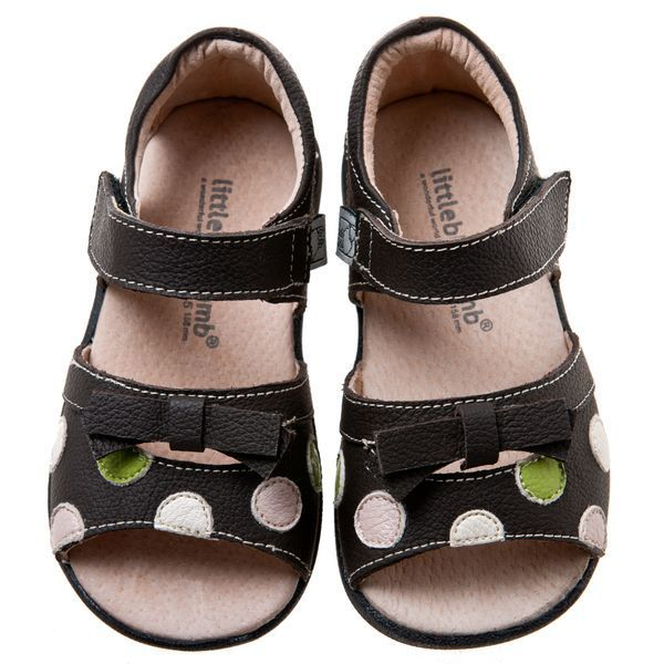 NEW Little Blue Lamb Girls Infant Brown Spotty Leather Toddler Sandals / Shoes
