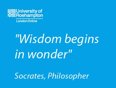 """Wisdom begins in wonder"" Socrates http://www.roehampton-online.com/?ref=4231900 #education #inspiration #proverb #quote"