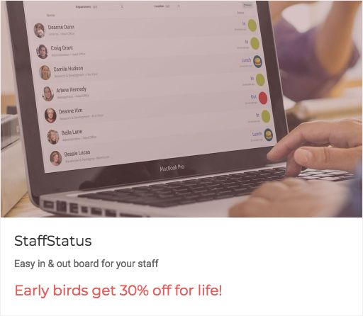 """Early birds, get the worm: """"Early birds get 30% off for life!"""" from @staffstatus  Easy in & out board for your staff https://getworm.com/campaign/909?utm_medium=kuku&utm_campaign=polaroid&utm_source=pinterest #earlyadopters #lovethyuser #getworm"""