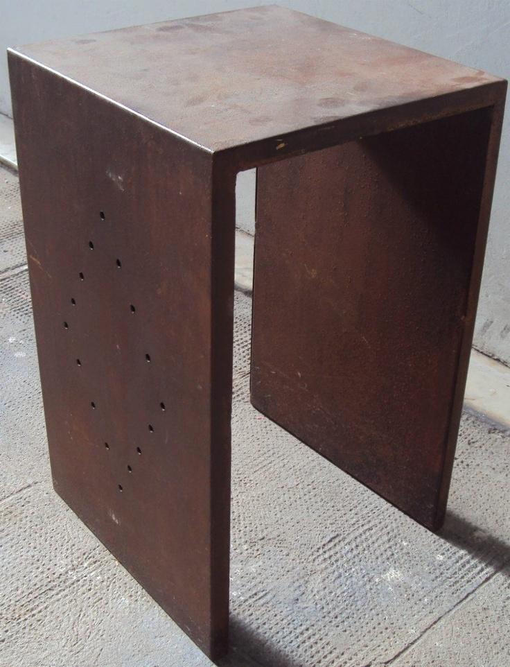 400 mesa ratona cuadrada de hierro mesita de luz chapa for Mesa ratona