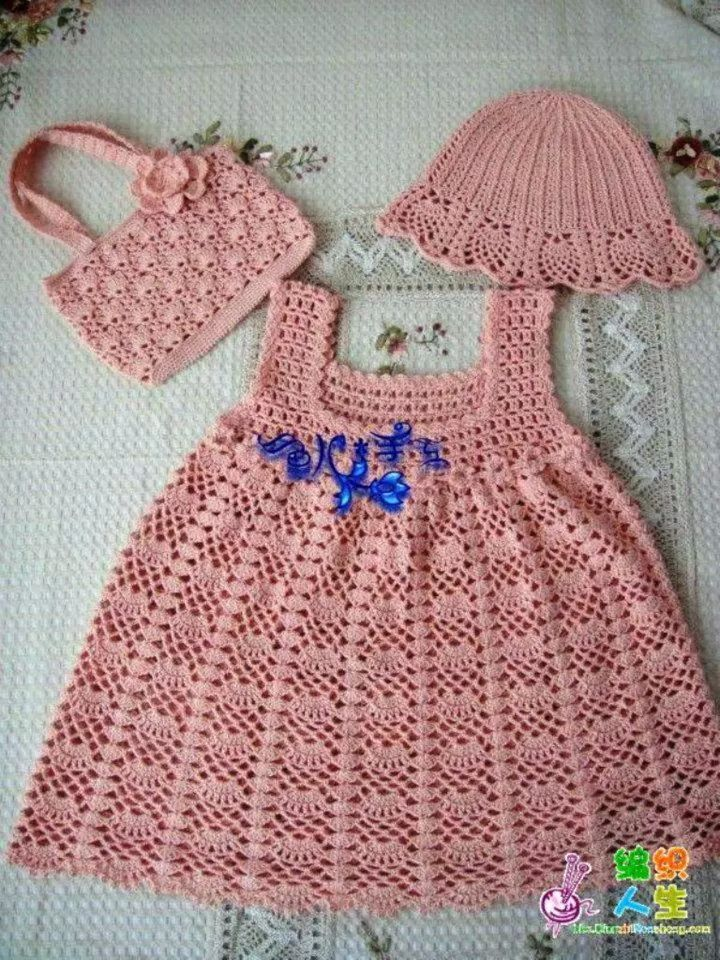 vestido rosa bolsa y gorro
