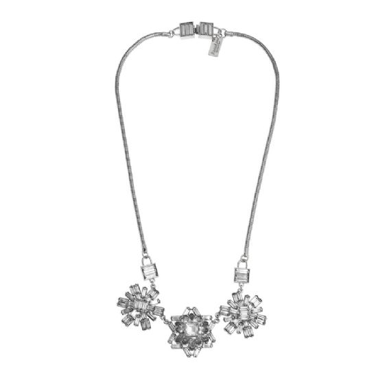 Simple and striking, this elegant necklace makes a true impact on any outfit and is perfect for evening. Part of our new Luxe collection, a range of high quality statement costume jewellery, the Chandelier necklace is made up of a group of three flower design clusters of clear crystal stones on a stainless steel necklace and chain. All of the pieces from the Luxe collection, embody the same style ethos and quality as the mainline Anna Lou of London range #annalouoflondon