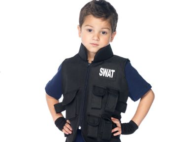 ToyGunZone - Kids SWAT Costume: Tactical Vest, Fingerless Gloves   FREE Handcuffs, $39.99 (http://www.toygunzone.com/kids-swat-costume-tactical-vest-fingerless-gloves-free-handcuffs/)