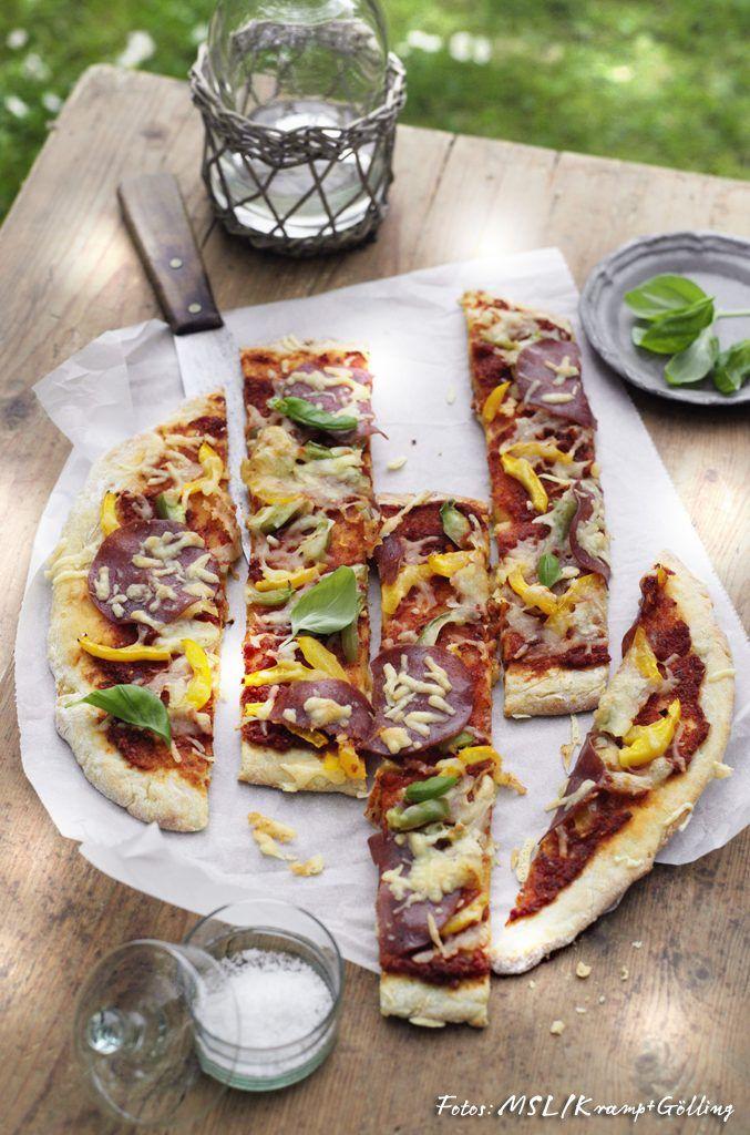 Ideal Kartoffelteig Pizza mit Salami Mein sch nes Land bloggt Foto MSL Kramp
