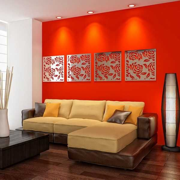 living room design with red accent wall and mirrors