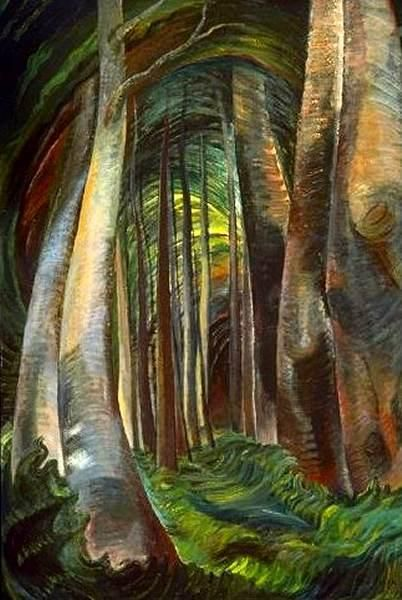 "Wood Interior, 1932-35. Emily Carr. ""I sat staring, staring, staring - half lost, learning a new language or rather the same language in a different dialect. So still were the big woods where I sat, sound might not yet have been born."""