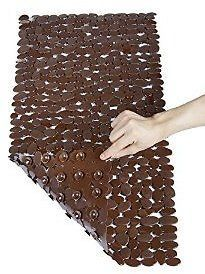 Non Slip Bath Mat,Anti Bacterial Pebbles Bathtub Mats,Slip Resistant Shower Mats(Brown,16 W X 35 L Inches): Home & Kitchen
