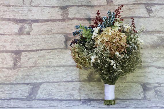 Dried Rustic Bridal Bouquet  Babys Breath Bouquet  Hydrangea