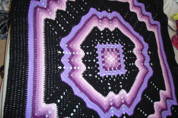 Free Crochet Ripple Afghan Pattern | ... afghan, multi-colored purples/black granny/ripple pattern - Afghans