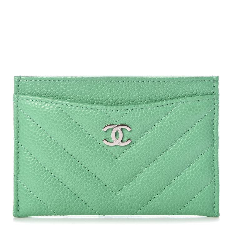 Chanel caviar chevron quilted card holder light green