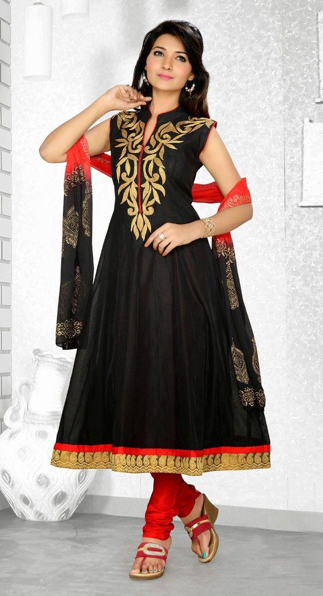 Black color Long Length Anarkali Rmd Salwar-Silk Salwar Kameez