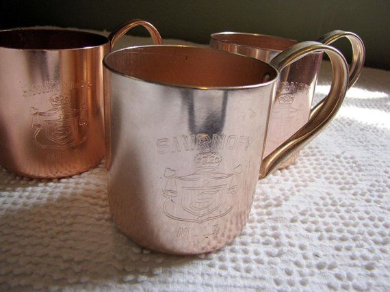Vintage Smirnoff Mule Copper Mugs 1960s by RedHenStudios on Etsy Dad had a set of these