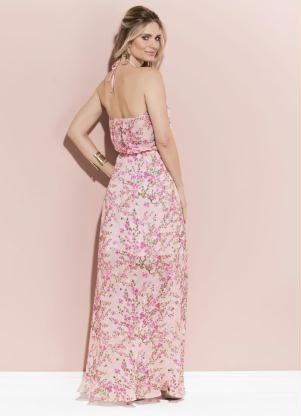 1a7fe184b Vestido Quintess Longo (Floral Coral) Frente Única | livestidos ...