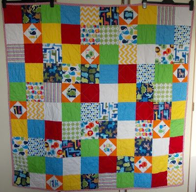 Kyle's Quilt using Urban Zoologie by Ann Kelle and Sketch fabrics