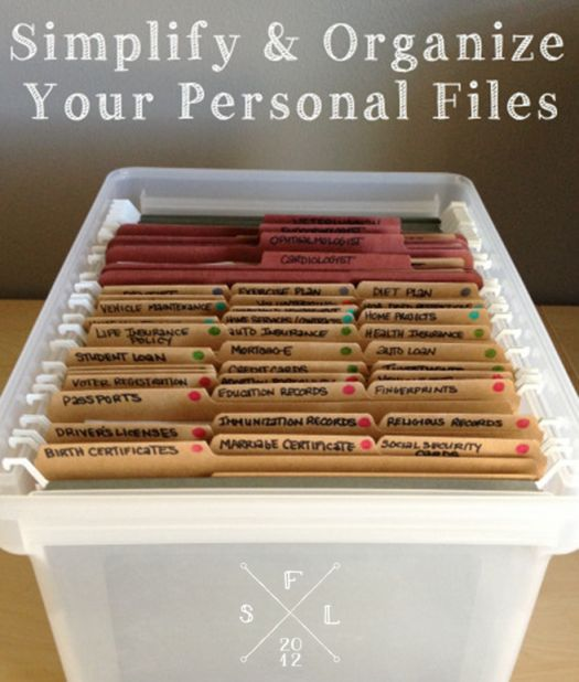 Simply Fabulous Living | {the weekend organizer} creating simplified   organized personal reference files