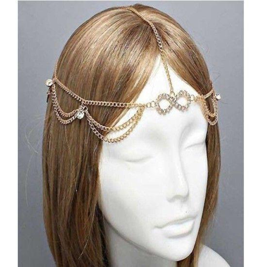 Чешские женщины глава металла сеть ювелирных изделий лоб танец повязка на голову частей резинка для волос