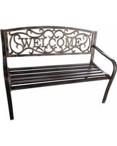 Metal Welcome 4-ft. Curved Back Garden Bench - Antique Gold - 90025