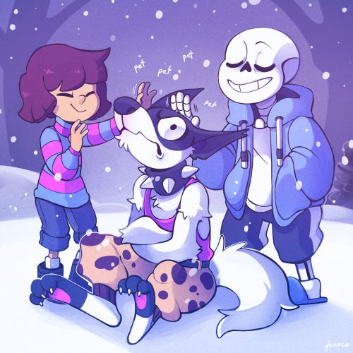 """Huh? Since when did you and Sans become friends? I don't like him; He loves to appear without moving.""  -- Undertale, Frisk, Doggo and Sans"
