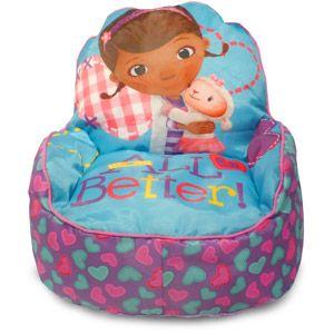 disney doc mcstuffins toddler bean bag sofa chair multi color